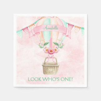 First Birthday Hot Air Balloon Mint Pink Peach Paper Napkin