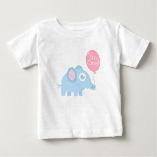 First Birthday, I'm One, Cute baby blue elephant Baby T-Shirt
