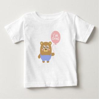 First Birthday, I'm One, Cute brown bear Baby T-Shirt