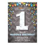 First Birthday Invitation boy One Chalk Green blue