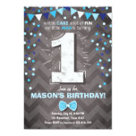 First Birthday Invitation boy One Navy Blue Bowtie