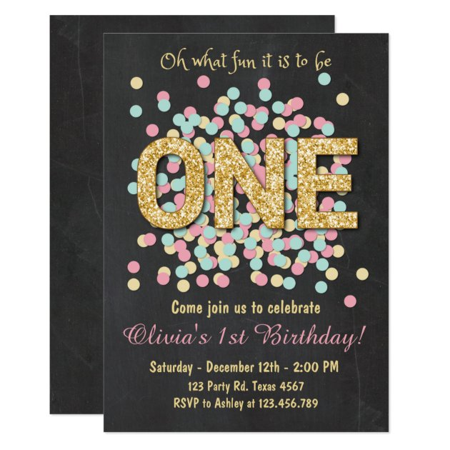 girl first birthday invitations  announcements  zazzle, Birthday invitations