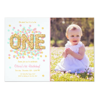 Pink And Gold First Birthday Invitations Announcements Zazzle - First birthday invitations girl online