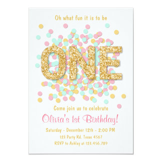 Girl First Birthday Invitations & Announcements | Zazzle