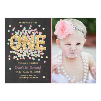 First birthday invitation Girl Pink Gold mint