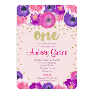 Purple First Birthday Invitations Announcements Zazzle - 1st birthday invitations girl purple