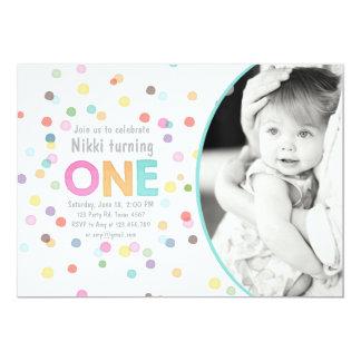 First birthday invitation Girl Watercolor confetti