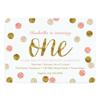 FIRST BIRTHDAY Invitation-Gold + Pink Glitter-ONE Card