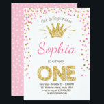 """First birthday invitation Princess Gold Pink<br><div class=""""desc"""">♥ A perfect way to invite your guests to your little one&#39;s first birthday! Little Princess theme with pink and gold,  confetti and a crown.</div>"""