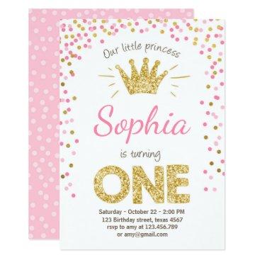 birthday First birthday invitation Princess Gold Pink
