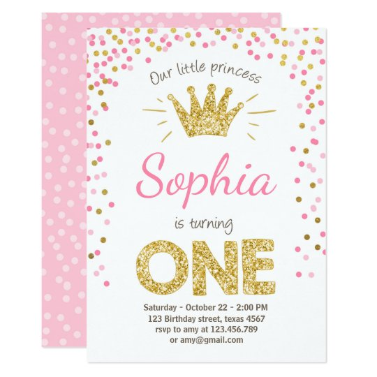 First Birthday Invitation Princess Gold Pink Zazzlecom - 1st birthday invitations gold and pink