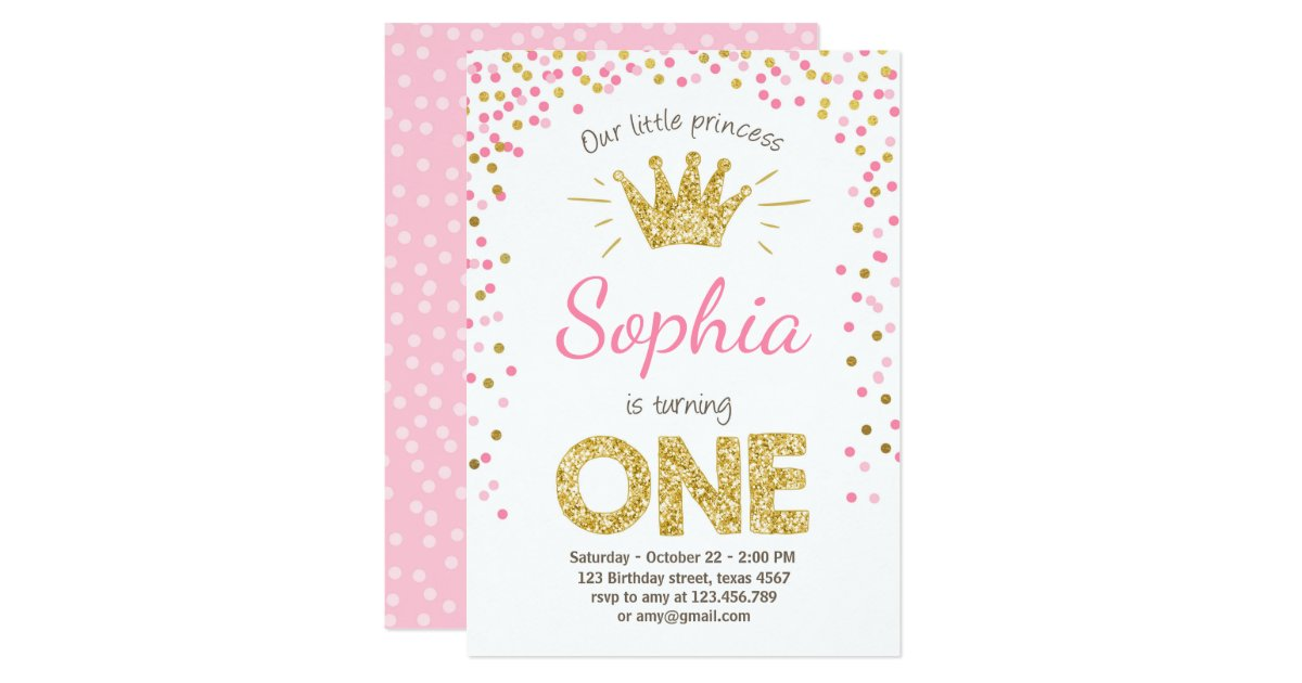 First Birthday Invitation Princess Gold Pink Zazzle