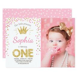 Princess birthday invitations announcements zazzle first birthday invitation princess gold pink stopboris Gallery