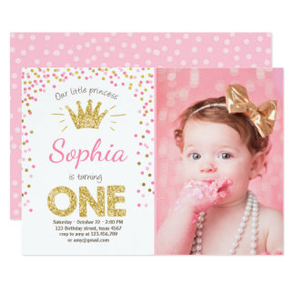 Princess first birthday invitations princess birthday invitation 1st birthday party invite pink stopboris Choice Image