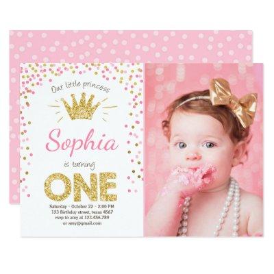 First birthday invitation Princess Gold Pink Zazzlecom