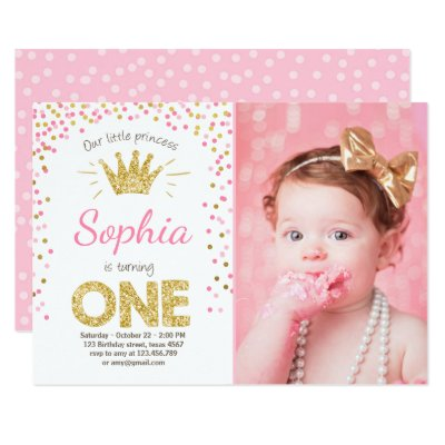 First birthday invitation Princess Gold Pink – Pink 1st Birthday Invitations