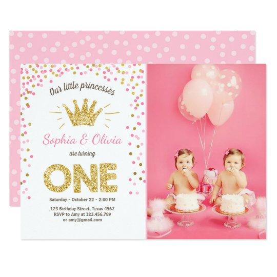 First Birthday Invitation Princess Gold Pink Twins Zazzle Com