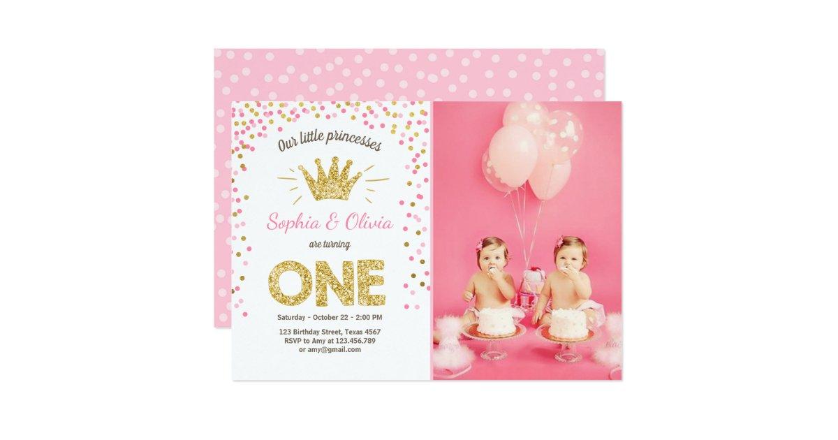First Birthday Invitation Princess Gold Pink Twins Zazzle
