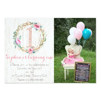 First Birthday Invitation - Watercolor Floral