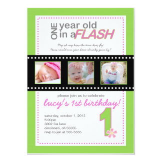 First Birthday Invitation with Photos One Year Old