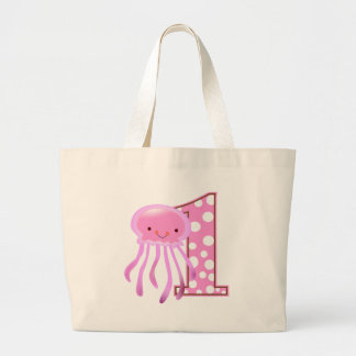 First Birthday Jellyfish Large Tote Bag