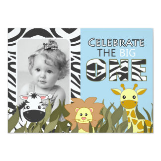 First Birthday Jungle Animal Blue Photo Invite