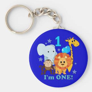 First Birthday Jungle Basic Round Button Keychain