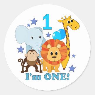 First Birthday Jungle Classic Round Sticker