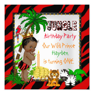 First Birthday Jungle Safari Wild Prince Ethnic Card
