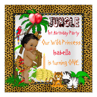 First Birthday Leopard Jungle Safari Wild Ethnic Card