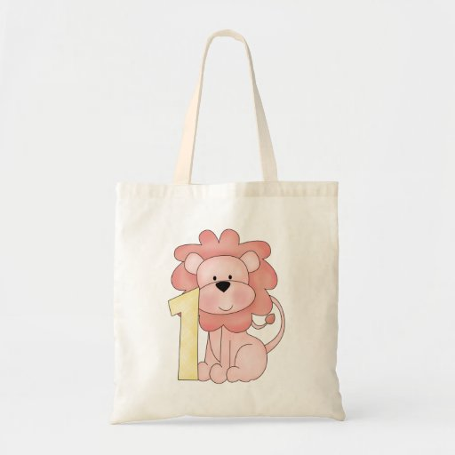 First Birthday Lion (pink) Budget Tote Bag