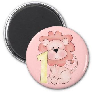 First Birthday Lion (pink) 2 Inch Round Magnet