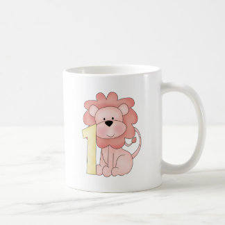 First Birthday Lion (pink) Classic White Coffee Mug