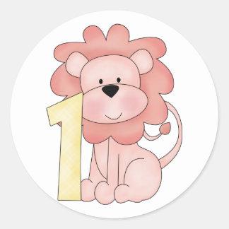 First Birthday Lion (pink) Classic Round Sticker