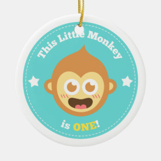 First Birthday, Little Monkey is One Ceramic Ornament