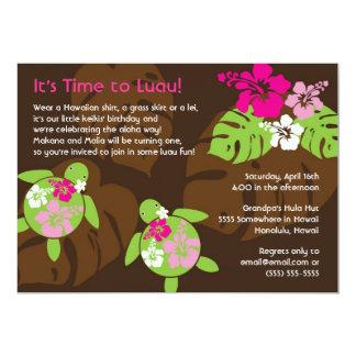 First Birthday Luau Invitation for Twin Girls