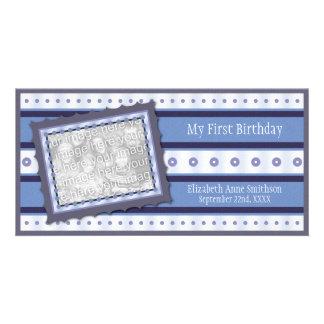 First Birthday Memories My 1st Blue Photo Card