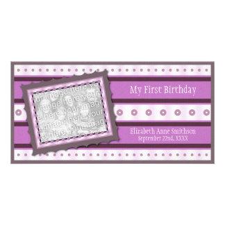 First Birthday Memories My 1st Purple Photo Card