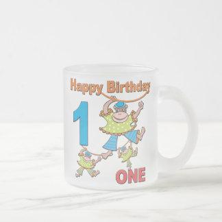 First Birthday Monkeys Frosted Glass Coffee Mug
