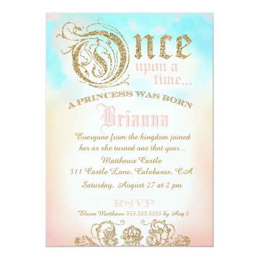 First Birthday Once Upon a Time Princess Invitation (back side)