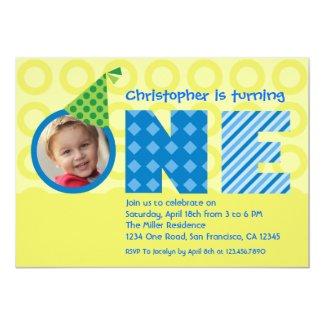 "First Birthday ""One"" Photo Invitation 5"" X 7"" Invitation Card"