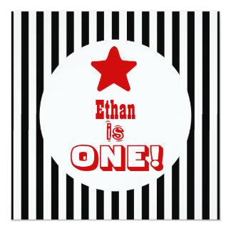 First Birthday One Year Old Black Stripes Boy V04A Announcement
