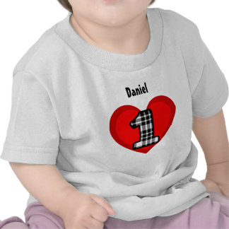 First Birthday One Year Old Heart and Plaid V02 Shirts