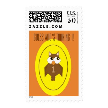 Halloween Themed First Birthday Owl Postage Stamp