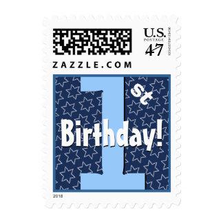 First Birthday Party Big Bold Blue White Stars V8 Postage