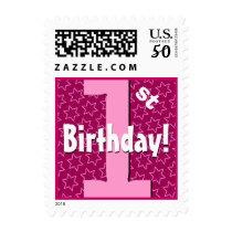 First Birthday Party Big Bold Pink Stars V8I Postage