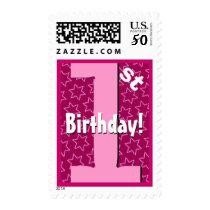 First Birthday Party Big Bold Pink Stars V8IA Postage