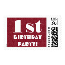First Birthday Party Big Bold Red and White G204 Postage