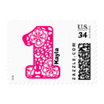 First Birthday Party Big Number PINK Lace V13 Postage