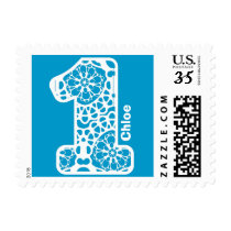 First Birthday Party BLUE and WHITE Lace V17 Postage